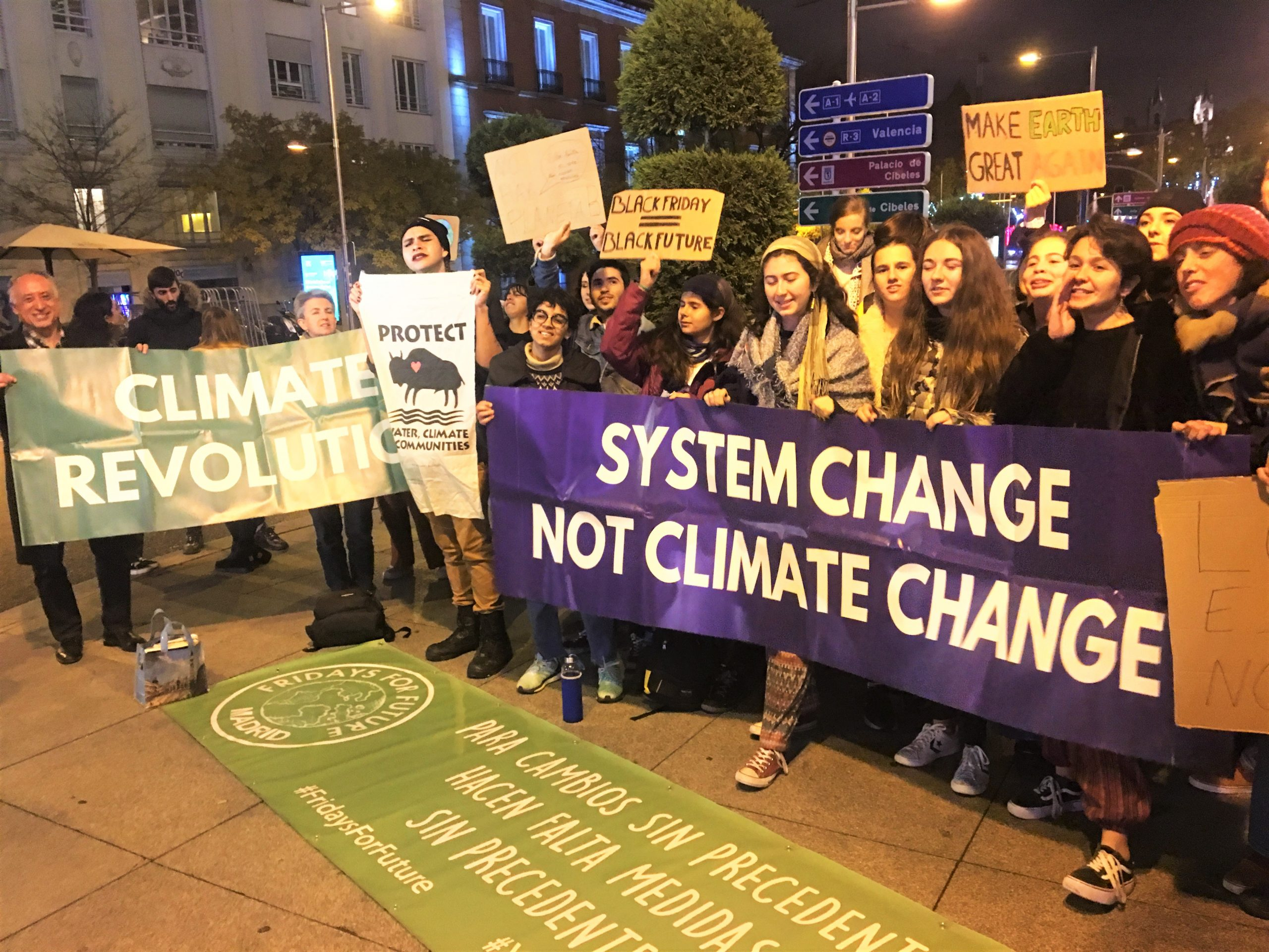 Youth activists demonstrating with banners and placards at the COP25 summit