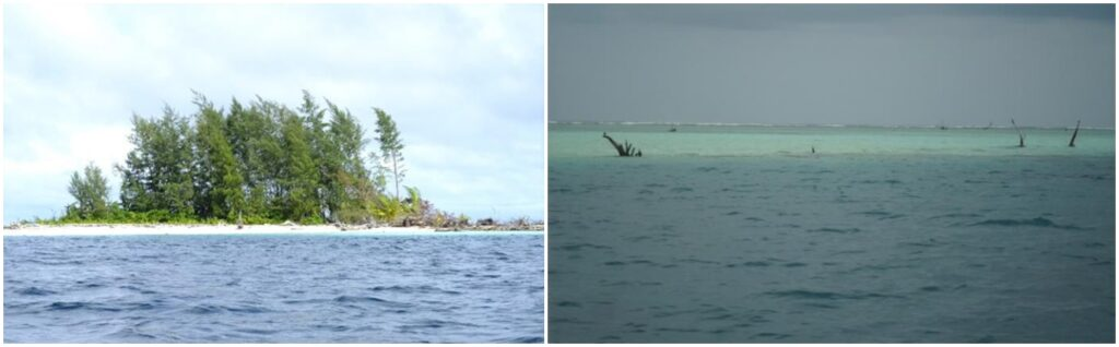 Kale Island 2009 versus 2014 when it's completely engulfed by the sea level rise